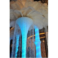 LIGHTED FLOOR STANDING TOWER WITH FLOOR LENGTH BEADED CURTAIN
